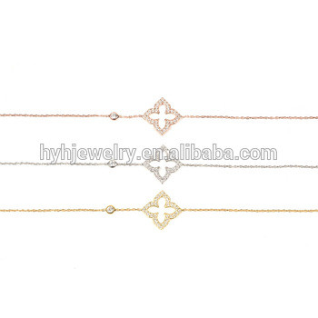 Latest designs clover shape lucky bracelet AAA zircon fancy indian jewelry