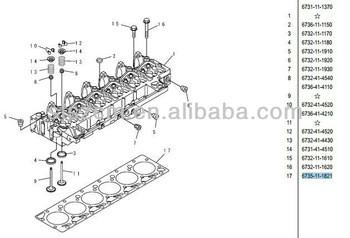 6735-11-1821,cylinder head SAA6D102 engine part